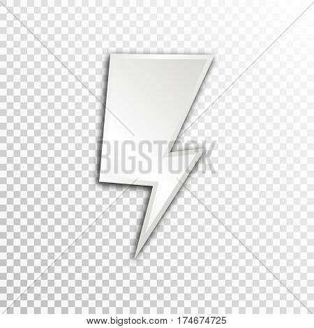 Empty white paper plate base for text. Simple lightning form card on transparent background.