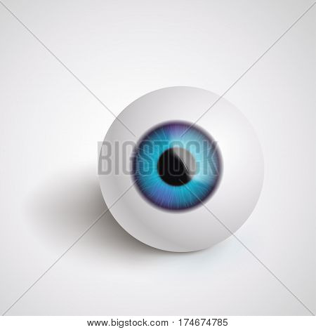 illustration of eyeball lying on grey background with soft shadow
