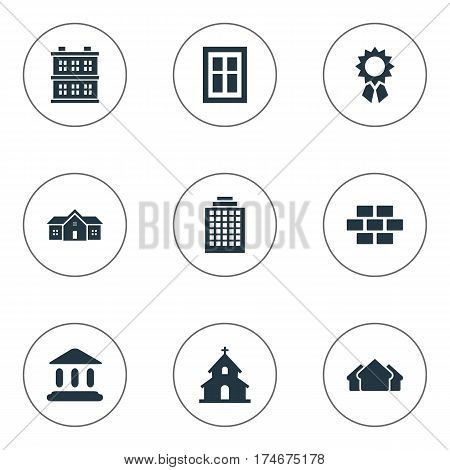 Set Of 9 Simple Architecture Icons. Can Be Found Such Elements As Reward, Glazing, Booth And Other.