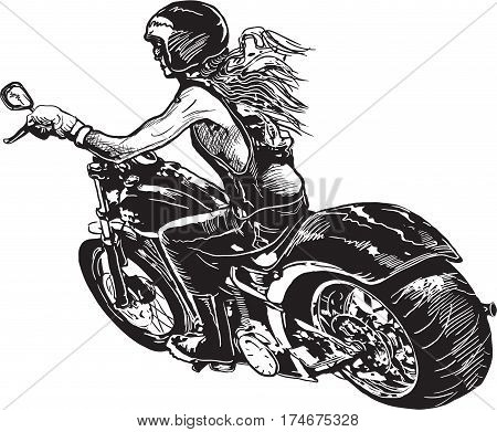 An woman riding motorcycle. Freehand drawing sketch. Isolated on white.