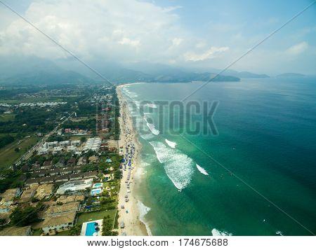 Aerial View of Maresias Beach, Sao Paulo, Brazil