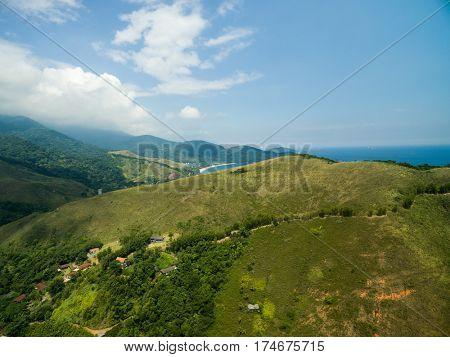 Aerial View of Mountain in Toque Toque Pequeno and Praia de Santiago in Sao Sebastiao, Sao Paulo, Brazil