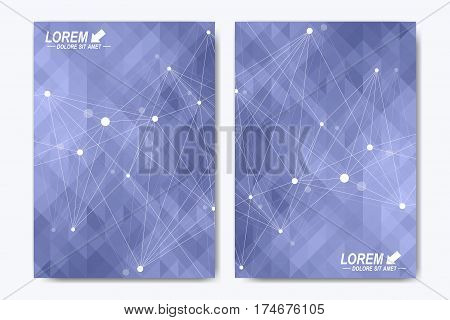 Modern vector template for brochure Leaflet, flyer, advert cover, catalog magazine or annual report. Business, science, medical design. Scientific cybernetic dots. Lines plexus. Card surface