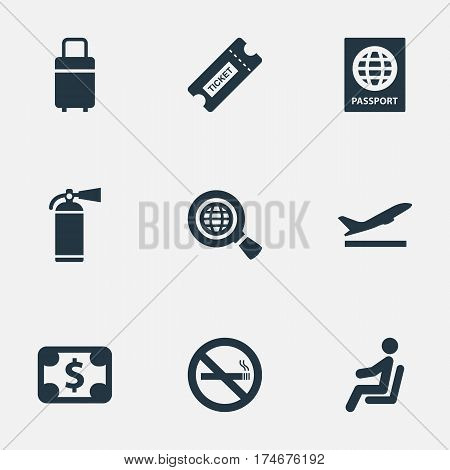 Set Of 9 Simple Transportation Icons. Can Be Found Such Elements As Protection Tool, Seat, Takeoff And Other.