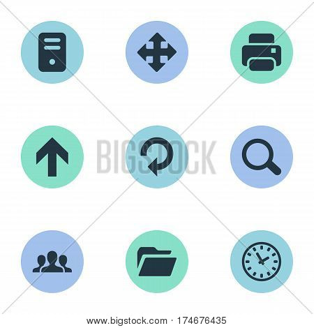 Set Of 9 Simple Apps Icons. Can Be Found Such Elements As Arrows, Watch, Dossier And Other.