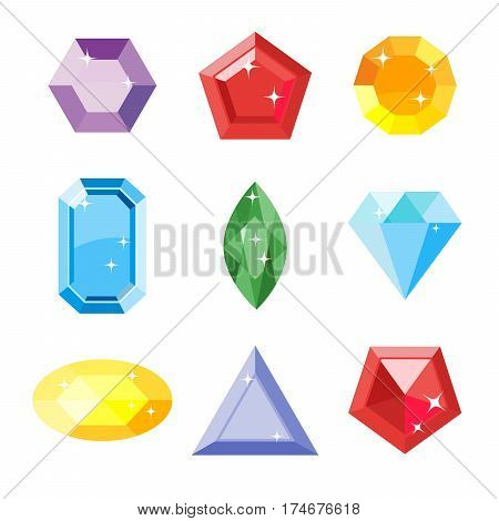 Gem set. Icon gem. Ruby, emerald, sapphire, diamond, brilliant, aquamarine different shapes, isolated on the white background. Vector jewels