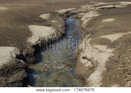 Mountain Stream Surrounded By Sand
