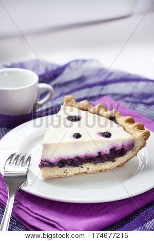 Piece of cheesecake with blueberries on a plate