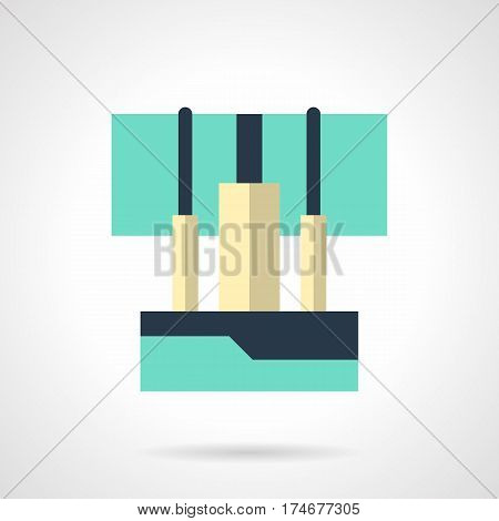 Abstract symbol of audio wires connected to sound mixer console. Equipment for concert, festival, party. Flat color style vector icon.