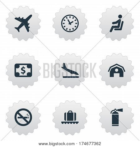 Set Of 9 Simple Airport Icons. Can Be Found Such Elements As Watch, Garage, Seat And Other.