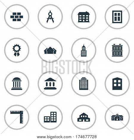Set Of 16 Simple Construction Icons. Can Be Found Such Elements As Academy, Offices, Structure And Other.