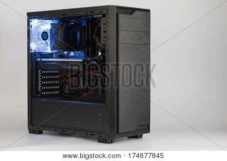 Open Midi Tower Computer Case  On White Background.