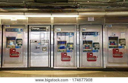 San Francisco CA - March 01 2017: BART machines Powell Street Station. Bay Area Rapid Transit (BART) carries commuters to and from San Francisco the East Bay and San Mateo County.