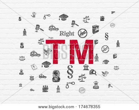 Law concept: Painted red Trademark icon on White Brick wall background with  Hand Drawn Law Icons