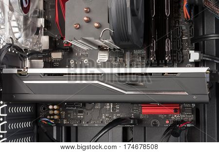Close Up Of Graphics Card In Pcie Slot On Atx Motherboard