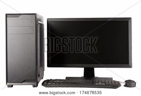 Midi Tower Computer Case With Led Monitor On White Background.