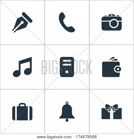 Set Of 9 Simple Instrument Icons. Can Be Found Such Elements As Gift, Call Button, Billfold And Other.