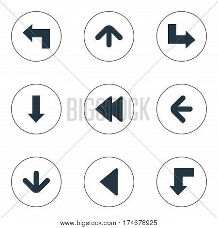 Set Of 9 Simple Cursor Icons. Can Be Found Such Elements As Upward Direction, Downwards Pointing, Pointer And Other.