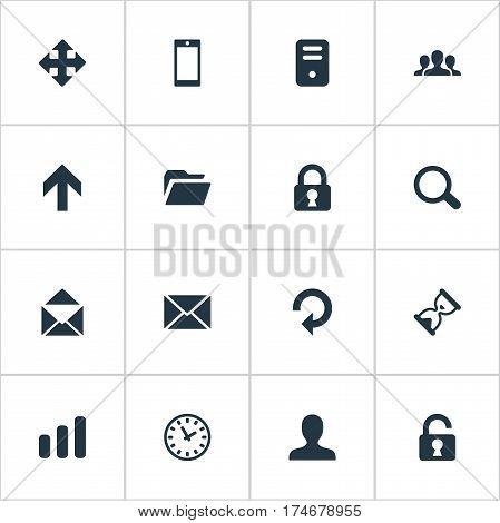 Set Of 16 Simple Application Icons. Can Be Found Such Elements As Refresh, Message, User And Other.