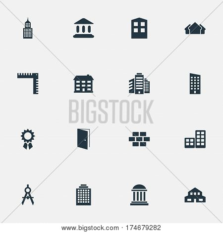 Set Of 16 Simple Architecture Icons. Can Be Found Such Elements As Flat, Stone, Construction And Other.