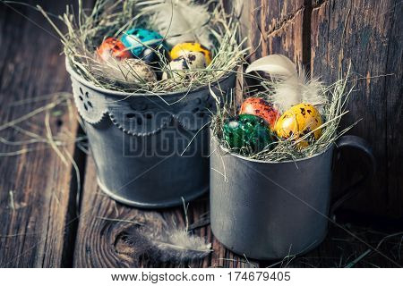 Quail And Hen Easter Eggs With Hay In Old Mug