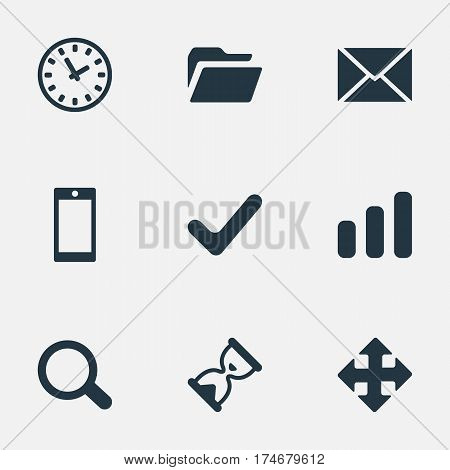 Set Of 9 Simple Apps Icons. Can Be Found Such Elements As Statistics, Dossier, Arrows And Other.