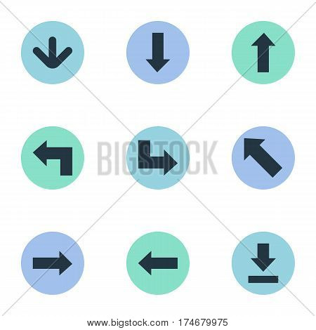 Set Of 9 Simple Arrows Icons. Can Be Found Such Elements As Downwards Pointing, Pointer, Let Down And Other.