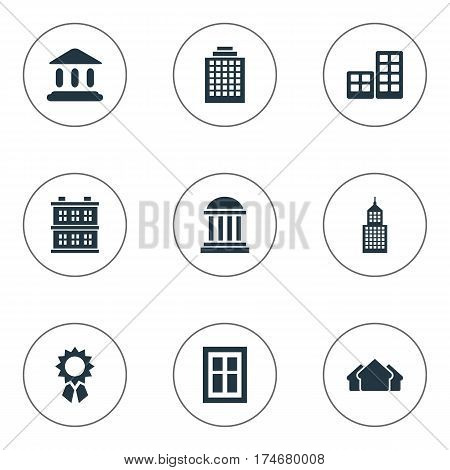 Set Of 9 Simple Construction Icons. Can Be Found Such Elements As Flat, Glazing, Block And Other.