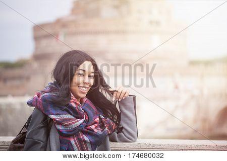 Happy Woman In Rome