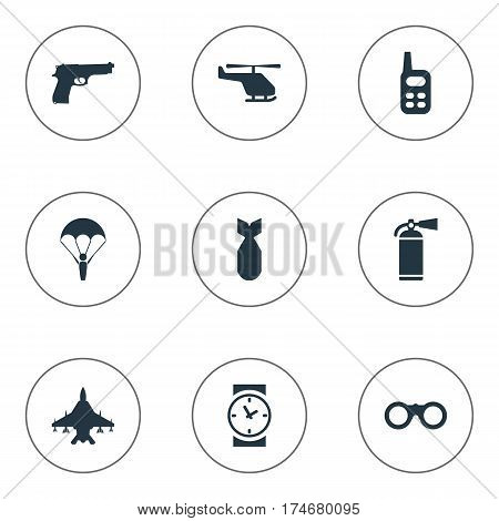 Set Of 9 Simple Terror Icons. Can Be Found Such Elements As Helicopter, Walkies, Extinguisher And Other.
