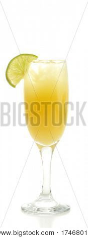 Refreshment Acoholic Drink with Martini, Blue Curacao, and Pineapple Juice. Lime Garnish. Isolated on White Background.