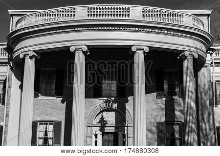 Mansion with Greek Ionic Columns in black and white I