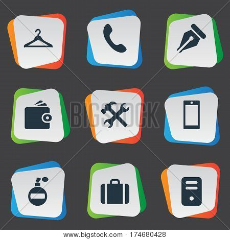 Set Of 9 Simple  Icons. Can Be Found Such Elements As Call Button, Briefcase, Hanger And Other.