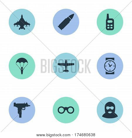 Set Of 9 Simple Terror Icons. Can Be Found Such Elements As Watch, Sky Force, Field Glasses And Other.