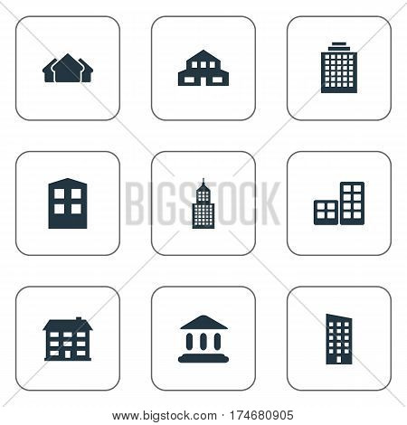 Set Of 9 Simple Architecture Icons. Can Be Found Such Elements As Floor, Structure, Construction And Other.