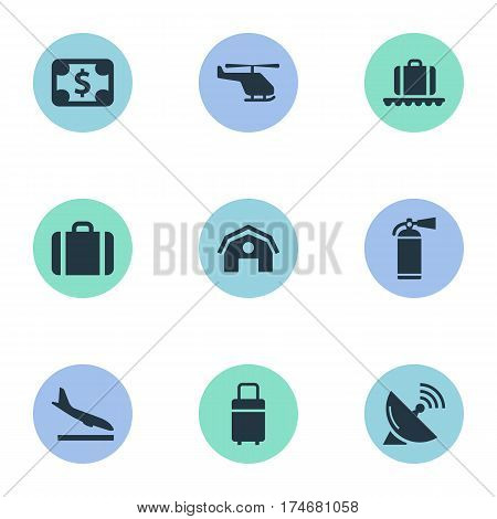 Set Of 9 Simple Transportation Icons. Can Be Found Such Elements As Protection Tool, Garage, Alighting Plane And Other.