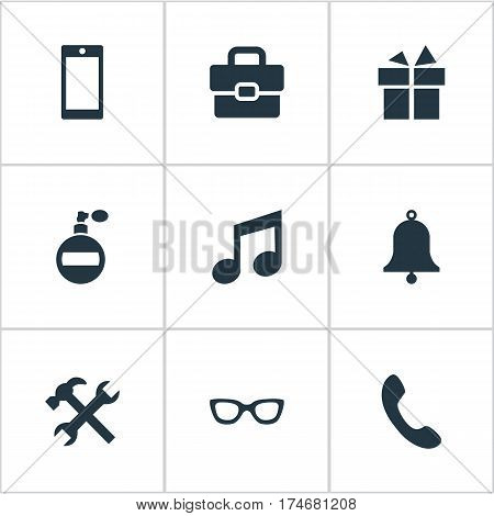 Set Of 9 Simple  Icons. Can Be Found Such Elements As Fragrance, Mobile Phone, Business Bag And Other.