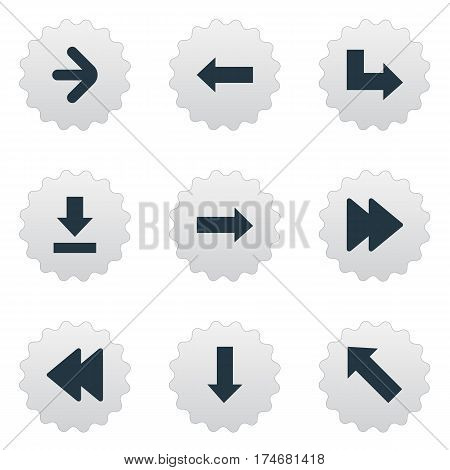 Set Of 9 Simple Pointer Icons. Can Be Found Such Elements As Left Direction, Rearward, Pointer And Other.