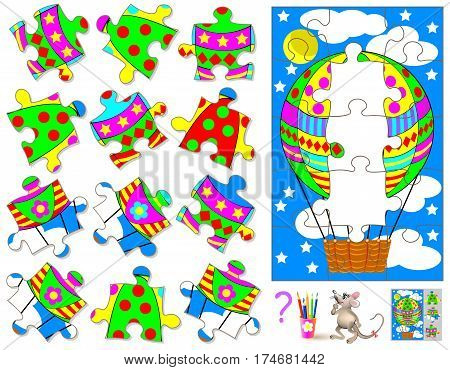 Logic puzzle game. Find and draw three missing pieces that corresponds to picture. Vector  cartoon image.