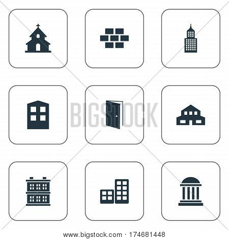 Set Of 9 Simple Construction Icons. Can Be Found Such Elements As Academy, Structure, Gate And Other.