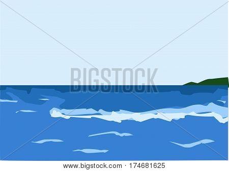 blue sea, green island, b skylue, foamy waves
