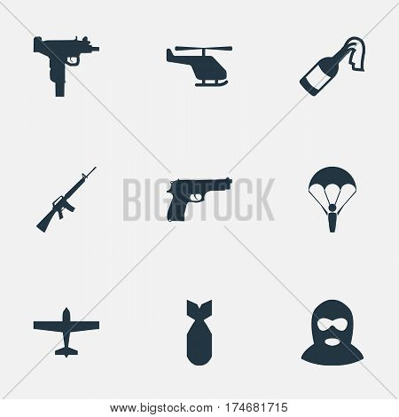 Set Of 9 Simple War Icons. Can Be Found Such Elements As Rifle Gun, Helicopter, Paratrooper And Other.