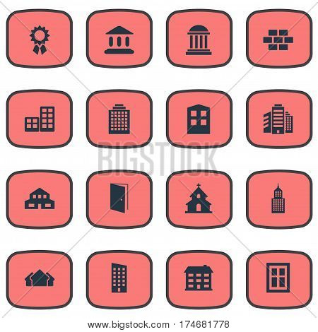Set Of 16 Simple Construction Icons. Can Be Found Such Elements As Offices, Popish, Reward And Other.