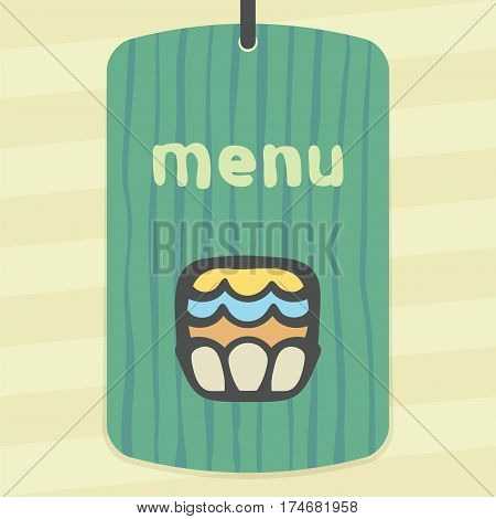 Vector outline cupcake with cream food icon on label with hand drawn striped background. Elements for mobile concepts and web apps. Modern infographic logo and pictogram.