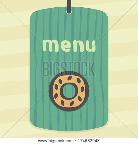 Vector outline sweet donut food icon on label with hand drawn striped background. Elements for mobile concepts and web apps. Modern infographic logo and pictogram.