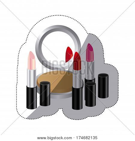 sticker colorful silhouette with make up set vector illustration