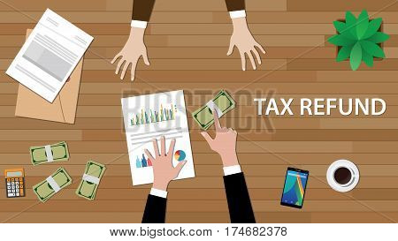 tax refund concept illustration with two people discuss on a table with paperworks, money and folder document on top of table vector