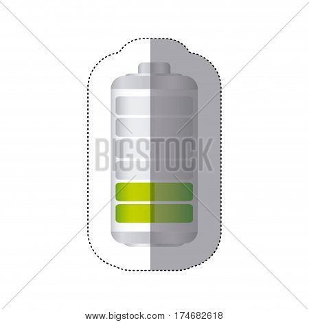 sticker battery symbol with level reduced energy charge vector illustration