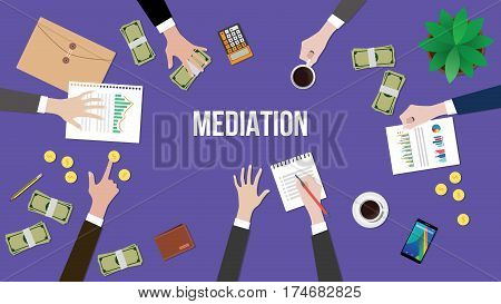 mediation concept discussion illustration with people discuss in a meeting with paperworks, money and coins on top of table vector