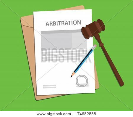 arbitration agreement letter stamped with folder document, blue pencil and judge hammer vector